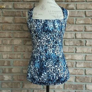Cache animal print sleeveless top size small.